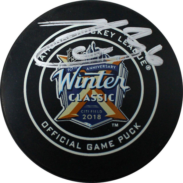 factory price b55f4 dfc96 Mats Zuccarello New York Rangers Signed 2018 Winter Classic Logo Game Model  Puck