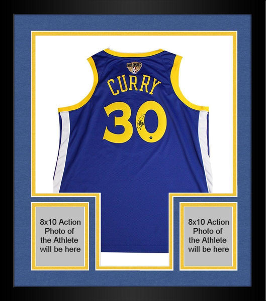 san francisco 87746 3f795 Framed Stephen Curry Golden State Warriors Signed Nike Blue Swingman Jersey  with NBA Finals Patch