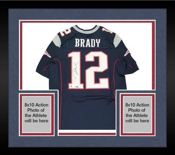 buy popular 35ffd 8189f Framed Tom Brady New England Patriots Signed Authentic Blue Jersey