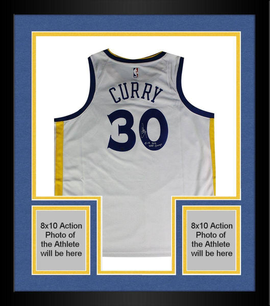 premium selection ca1ff 874b3 Framed Stephen Curry Signed Golden State Warriors Nike White Swingman  Jersey w/