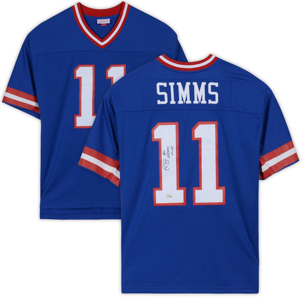 buy online 379e5 8278a Phil Simms New York Giants Autographed Mitchell & Ness Blue Replica Jersey  with