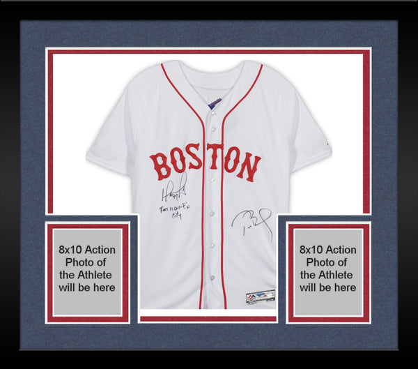 buy online 0cf2f 6399d Framed David Ortiz and Tom Brady Boston Red Sox Autographed White Majestic  Authentic Jersey with