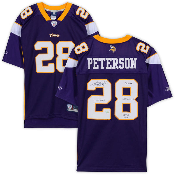 buy popular a3950 57f66 Adrian Peterson Minnesota Vikings Autographed Purple Reebok Premier Jersey  with Multiple Rookie Stat Inscriptions