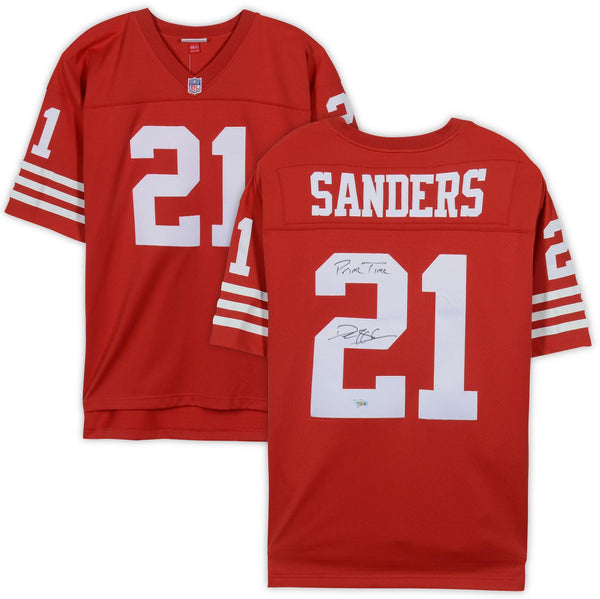 brand new 4eff6 88473 Deion Sanders San Francisco 49ers Autographed Mitchell & Ness Red Replica  Jersey with