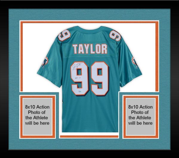 buy popular db119 2ba95 Framed Jason Taylor Miami Dolphins Autographed Teal Reebok Replica Jersey  with