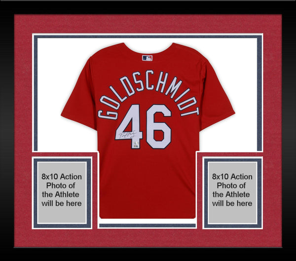 sports shoes fcded 89b30 Framed Paul Goldschmidt St. Louis Cardinals Autographed Red Majestic  Replica Jersey