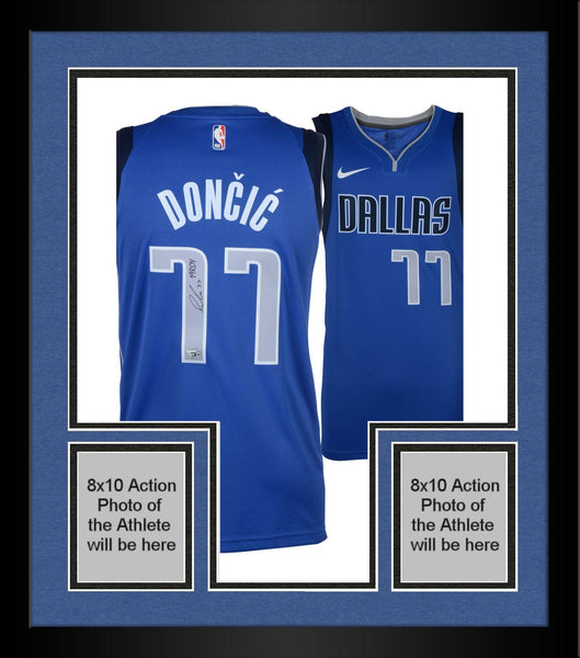 detailed look dc93a fa97a Framed Luka Doncic Dallas Mavericks Autographed Nike Blue Swingman Jersey  with
