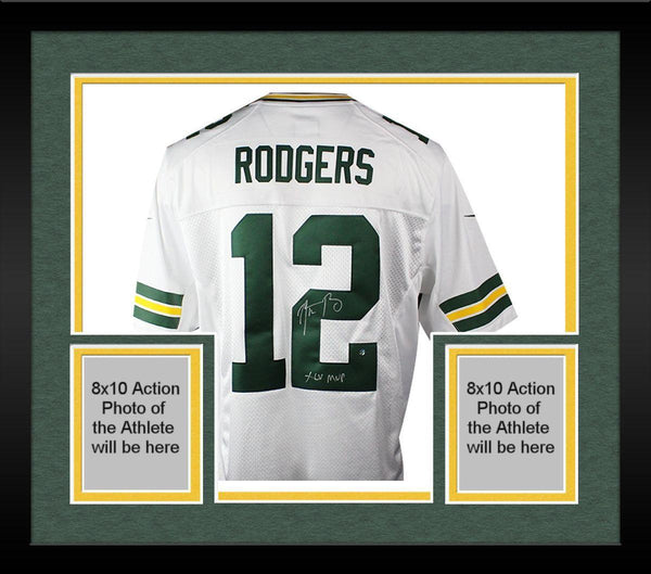 online store 65ead fb0dd Framed Aaron Rodgers Signed Green Bay Packers White Twill Limited Nike  Jersey w/