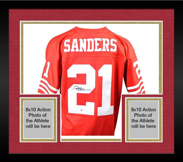 size 40 8fa94 bf275 Framed Deion Sanders Signed San Francisco 49ers Mitchell & Ness Retired  Player Vintage Replica Jersey