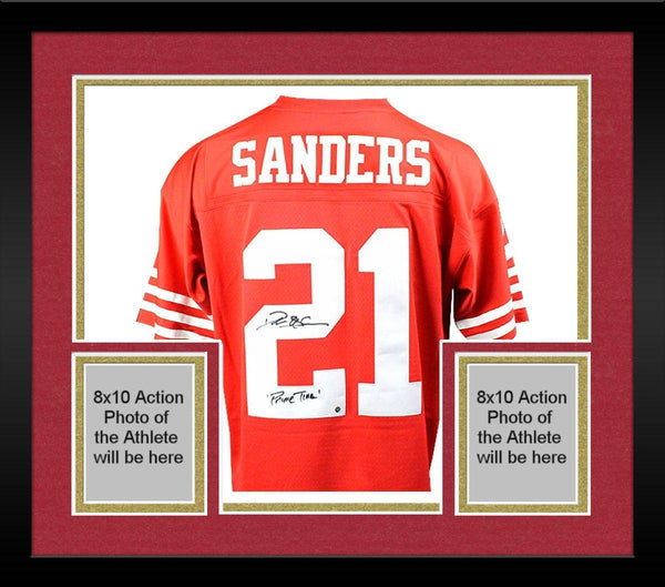 wholesale dealer 1f968 ae42d Framed Deion Sanders Signed San Francisco 49ers Mitchell & Ness Retired  Player Vintage Replica Jersey w/
