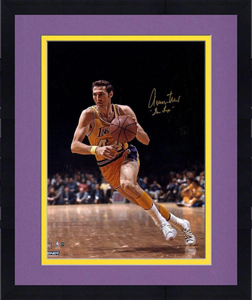 new product 497e6 be262 Framed Jerry West Signed Los Angeles Lakers 1970 Finals 16x20 Photo w/