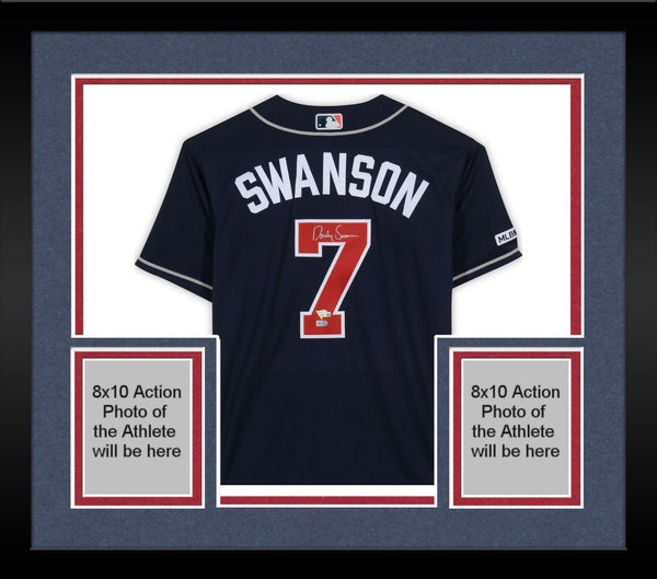 newest 676ac 4f26d Framed Dansby Swanson Atlanta Braves Autographed Navy Majestic Authentic  Jersey