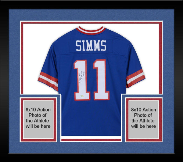 quality design 65090 7f977 Framed Phil Simms New York Giants Autographed Mitchell & Ness Blue Replica  Jersey with
