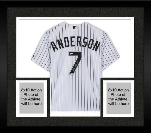 sports shoes eeb14 c23a5 Framed Tim Anderson Chicago White Sox Autographed White Majestic Replica  Jersey