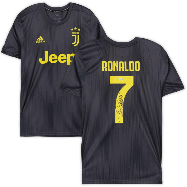 sports shoes c7315 cf95f Cristiano Ronaldo Juventus F.C. Autographed 2018-2019 Black Adidas Replica  Jersey