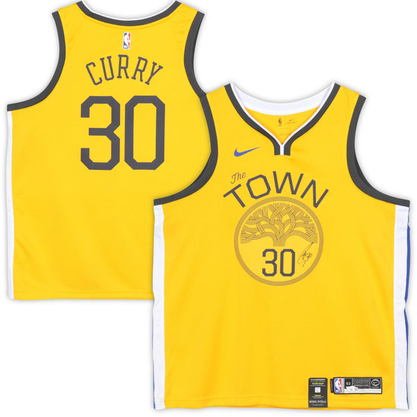 online retailer cc89d 61efc Stephen Curry Golden State Warriors Autographed 2018 Nike Gold Earned  Edition Swingman Jersey
