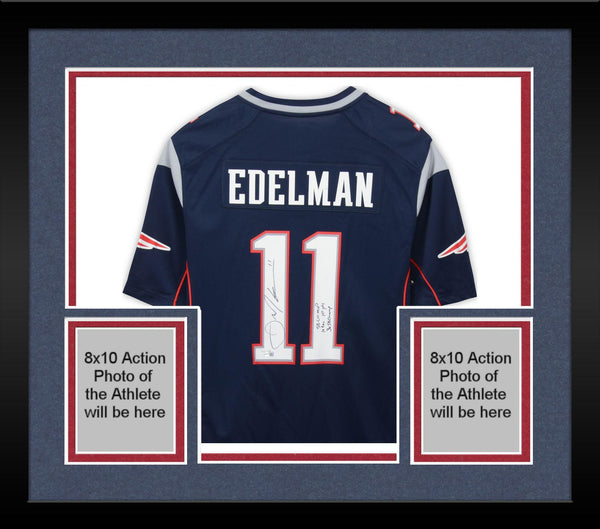 pretty nice 2f9e5 c7a16 Framed Julian Edelman New England Patriots Autographed Navy Nike Game  Jersey with Mulitple Super Bowl LIII Inscriptions - Limited Edition #11 of  18