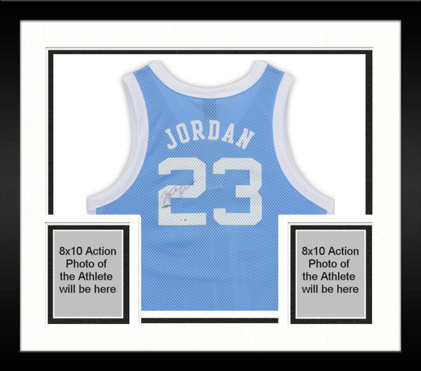 buy popular 19dfb 30f24 Framed Michael Jordan North Carolina Tar Heels Autographed Blue Jersey -  Upper Deck