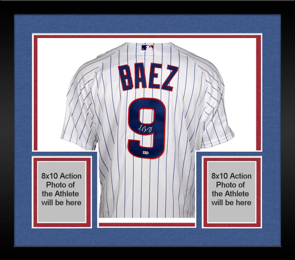 buy online ff42f d938f Framed Javier Baez Chicago Cubs Autographed Authentic White Jersey