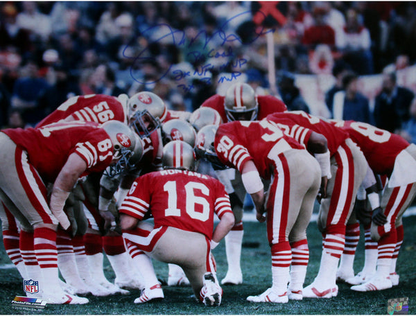 6164006c97c Joe Montana San Francisco 49ers Huddle Signed 16x20 Photo w  Three Ins –  Steiner Sports