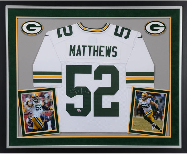 the best attitude 9fd33 5edf3 Clay Matthews Green Bay Packers Deluxe Framed Autographed Nike White  Limited Jersey