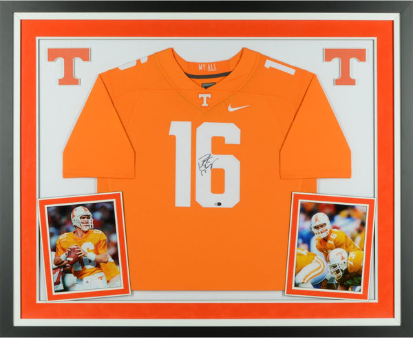 online store 0a1e3 946a4 Peyton Manning Tennessee Volunteers Deluxe Framed Autographed Nike Orange  Limited Jersey