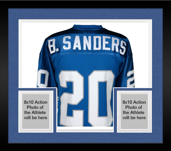 new product abf54 77758 Framed Barry Sanders Detroit Lions Autographed Blue Mitchell & Ness  Authentic Jersey