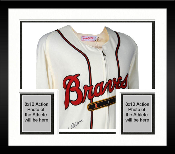 21188398 Framed Hank Aaron Milwaukee Braves Autographed Mitchell and Ness 1963 –  Steiner Sports