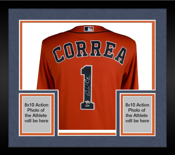 the best attitude 9076d 624fa Framed Carlos Correa Houston Astros 2017 MLB World Series Champions  Autographed Majestic World Series Orange Replica Jersey