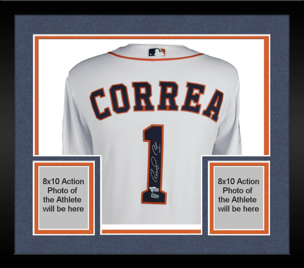 on sale 5a986 21416 Framed Carlos Correa Houston Astros 2017 MLB World Series Champions  Autographed Majestic White World Series Authentic Jersey