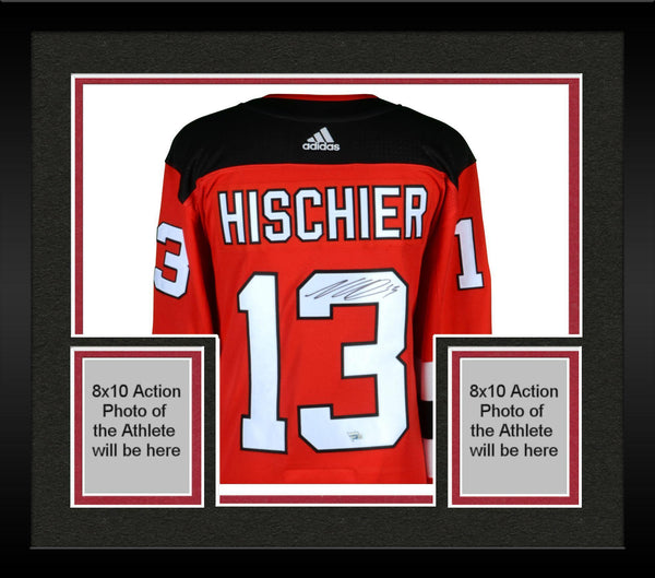 online retailer a309c babc6 Framed Nico Hischier New Jersey Devils Autographed Red Adidas Authentic  Jersey