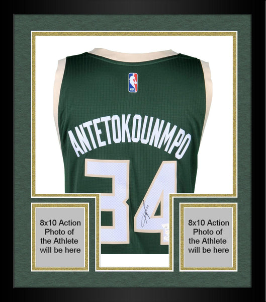 buy popular 29374 0aba7 Framed Giannis Antetokounmpo Milwaukee Bucks Autographed Adidas Green  Swingman Jersey