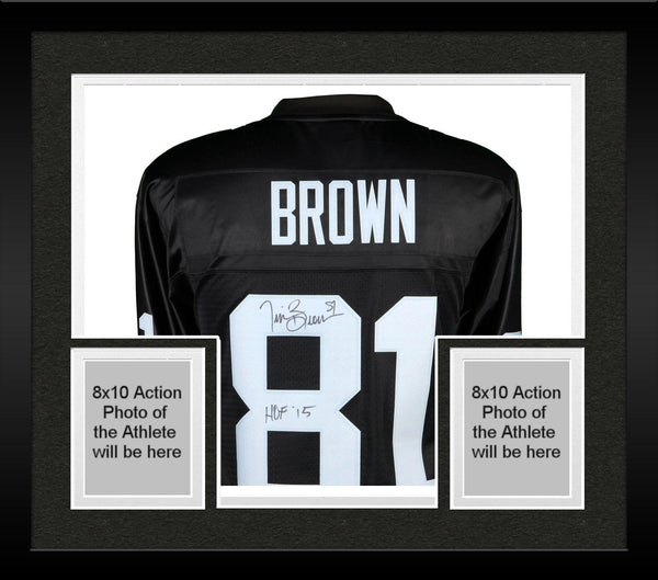 release date abe36 f2079 Framed Tim Brown Oakland Raiders Autographed Black Mitchell & Ness Replica  Jersey with