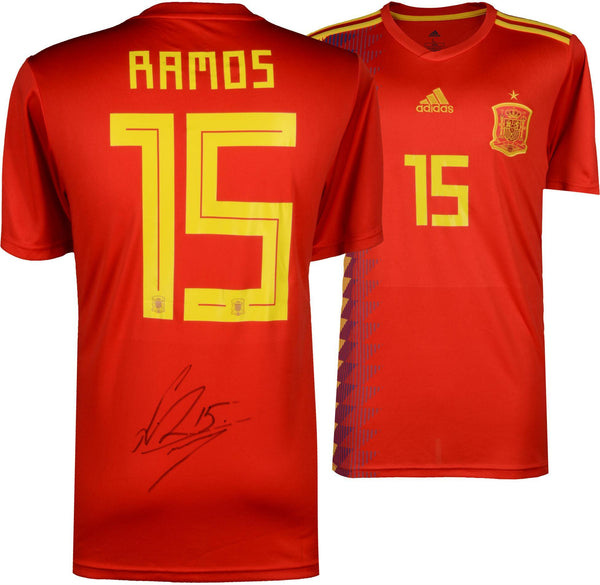 separation shoes be403 f8e1c Sergio Ramos Spain Autographed Adidas Red Home Jersey