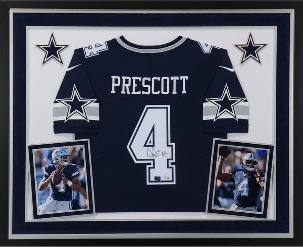 watch 44960 0023f Dak Prescott Dallas Cowboys Deluxe Framed Autographed Blue Nike Limited  Jersey