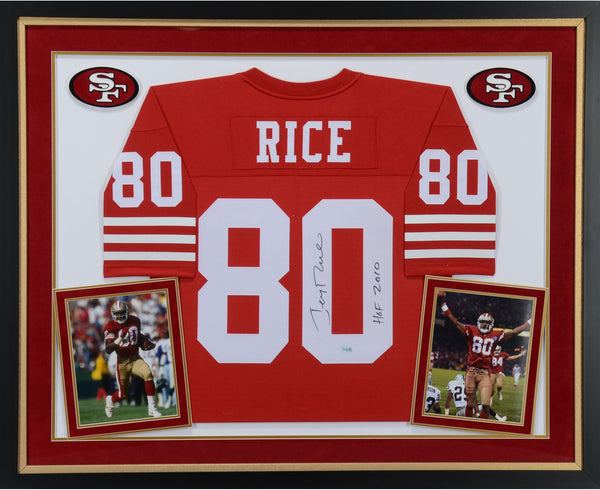 competitive price 9801c 9b7a2 Jerry Rice San Francisco 49ers Deluxe Framed Autographed Red Mitchell &  Ness Replica Jersey with