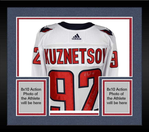 hot sale online d0740 a3a69 Framed Evgeny Kuznetsov Washington Capitals 2018 Stanley Cup Champions  Autographed White Adidas Authentic Jersey with 2018 Stanley Cup Final Patch  ...