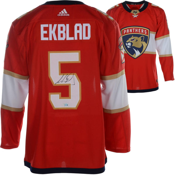 meet fb78d 2a88a Aaron Ekblad Florida Panthers Autographed Red Adidas Authentic Jersey