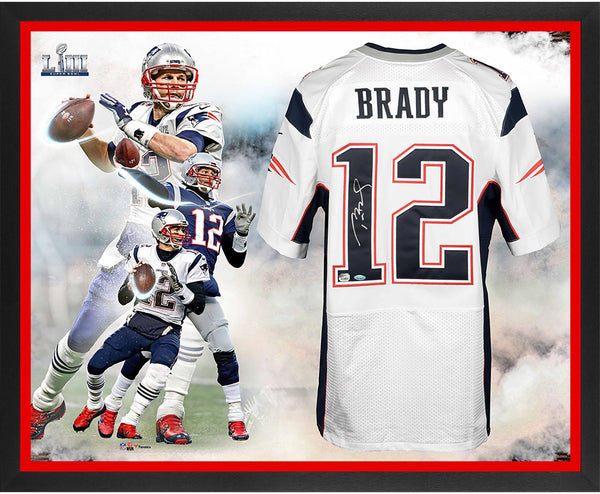 premium selection 4487a 724e5 Tom Brady New England Patriots Framed Autographed Super Bowl LIII Champions  Nike White Elite Jersey Super Bowl LIII Champions Collage - TRISTAR