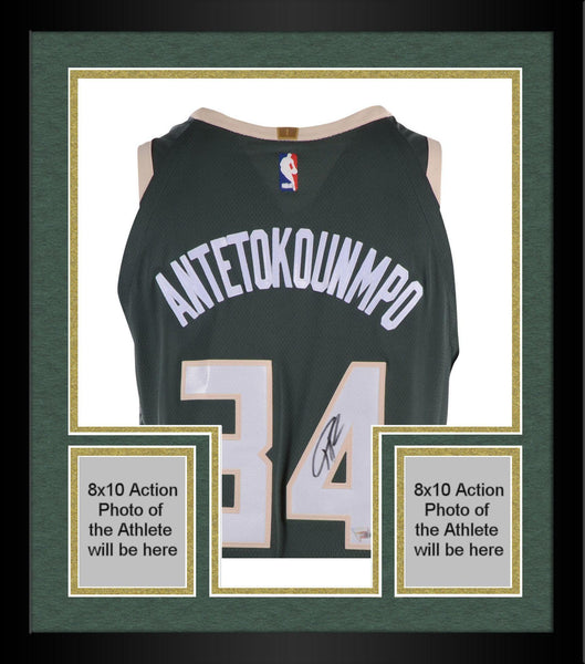 new arrival 031be e7f7f Framed Giannis Antetokounmpo Milwaukee Bucks Autographed Green Nike  Authentic Jersey