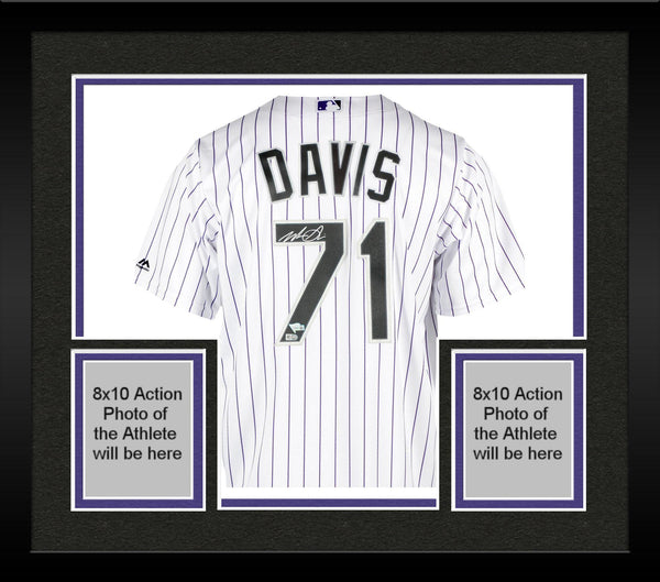 new style fefa8 02bec Framed Wade Davis Colorado Rockies Autographed Majestic White Replica Jersey