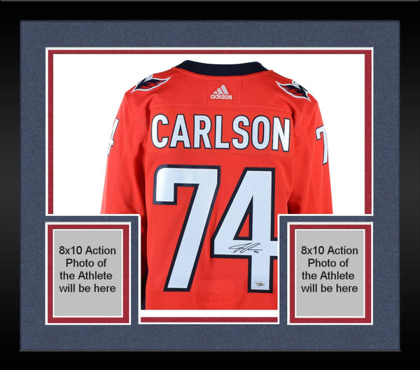 new arrival ae776 41f5f Framed John Carlson Washington Capitals 2018 Stanley Cup Champions  Autographed Red Adidas Authentic Jersey with 2018 Stanley Cup Final Patch