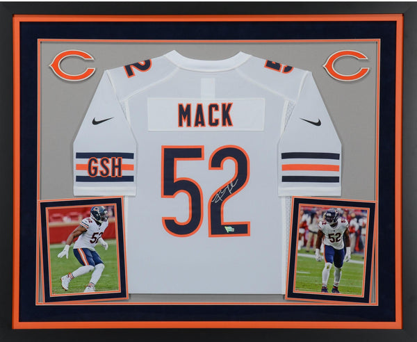 newest 73b6e faa61 Khalil Mack Chicago Bears Deluxe Framed Autographed Nike White Game Jersey