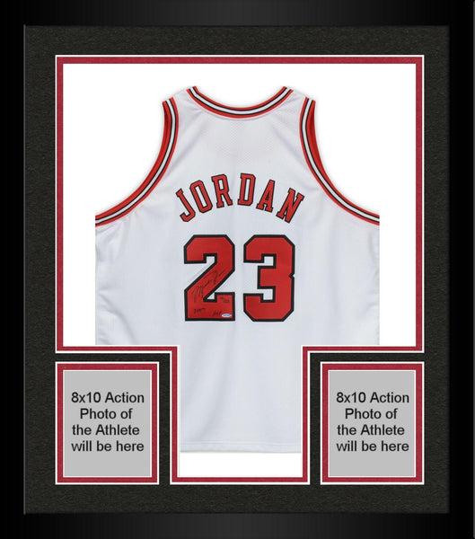 sports shoes 49390 bf965 Framed Michael Jordan Chicago Bulls Autographed Mitchell & Ness White  Jersey with