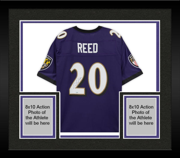 0d10ca2591558 Framed Ed Reed Baltimore Ravens Autographed NFL Pro-Line Purple Replica  Jersey with