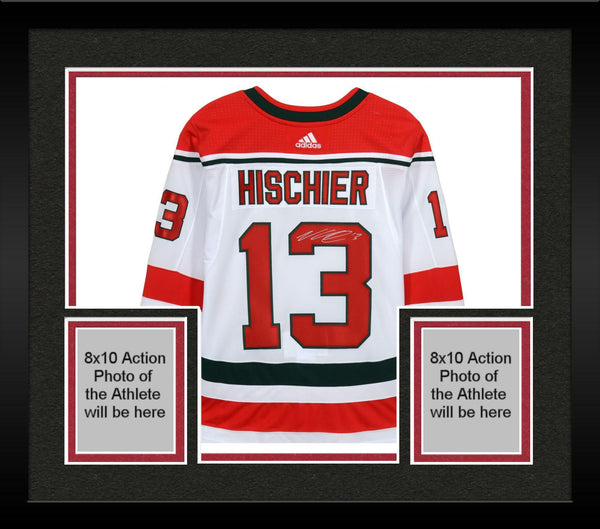 on sale c217d 0c3ae Framed Nico Hischier New Jersey Devils Autographed White Alternate Adidas  Authentic Jersey