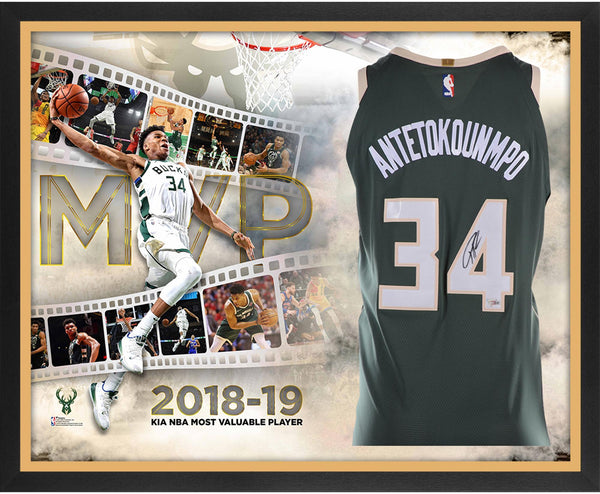wholesale dealer 3f91d 6aadd Giannis Antetokounmpo Milwaukee Bucks Fanatics Authentic Framed Autographed  Nike Green Authentic Jersey 2019 NBA MVP Collage