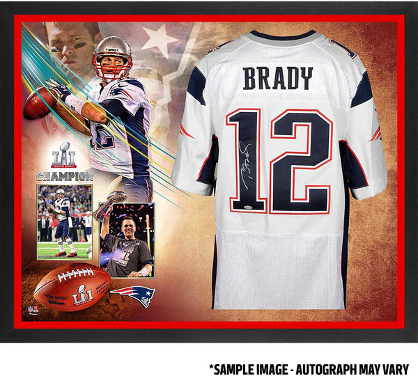 best sneakers 2ff76 d71ea Tom Brady New England Patriots Framed Autographed White Nike Elite Jersey  Super Bowl LI Champions Collage - TRISTAR