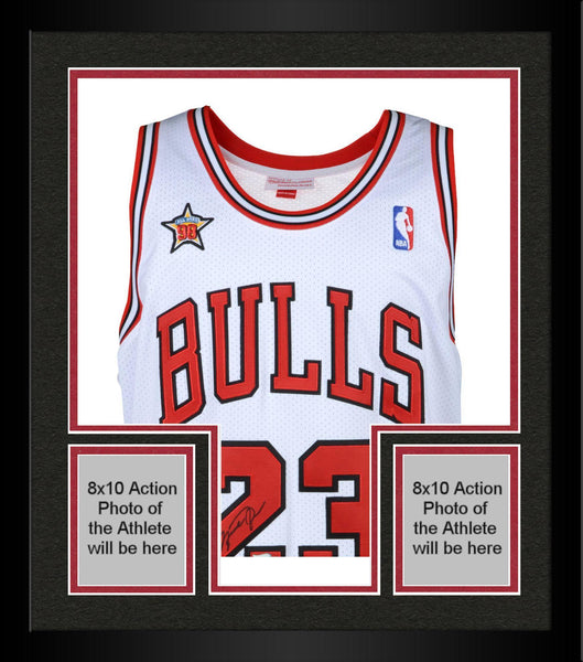 best website 524a6 8a3b3 Framed Michael Jordan Chicago Bulls Autographed White Mitchell & Ness  Jersey with 1998 All Star Patch &
