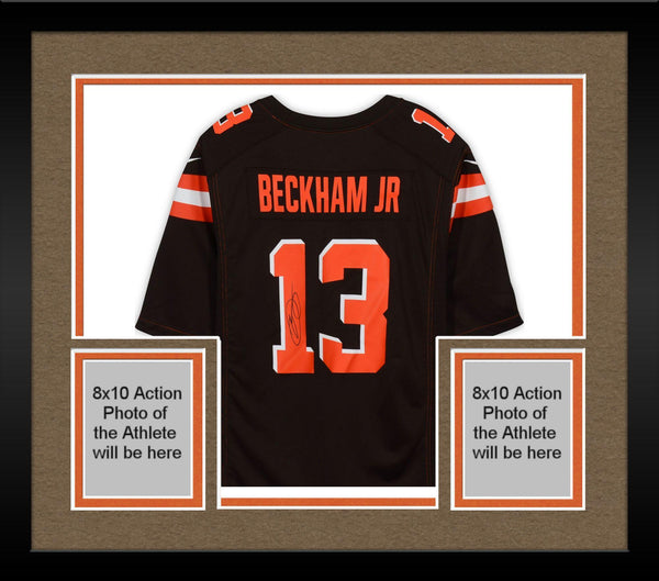 sports shoes eed38 7a448 Framed Odell Beckham Jr. Cleveland Browns Autographed Nike Brown Game Jersey